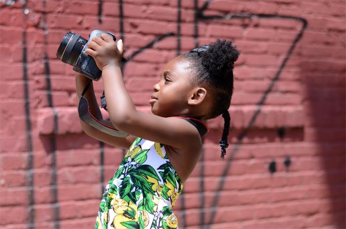 Young Girl tilting camera up